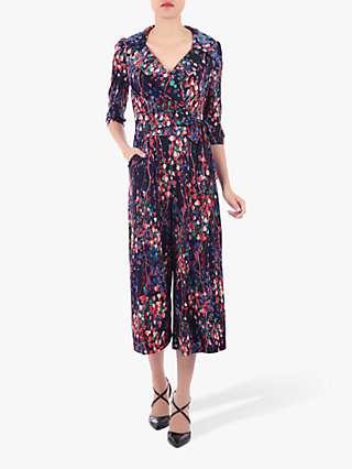 Jolie Moi Floral Print Cross Over Jumpsuit, Navy/Multi