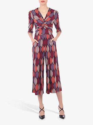 Jolie Moi Geometric Print Twist Neck Jumpsuit, Multi
