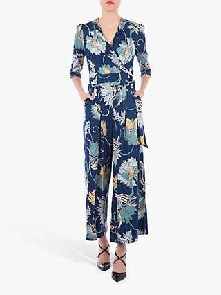 Jolie Moi Floral Print D-Ring Jumpsuit, Teal
