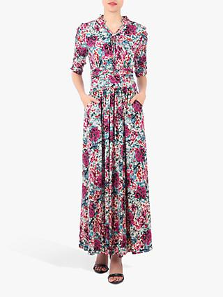 Jolie Moi Tie Neck Print Maxi Dress, Floral Multi
