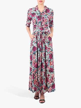 Jolie Moi Tie Neck Print Maxi Dress, Floral Multi