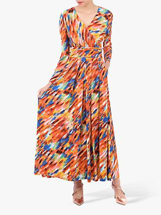 Jolie Moi Long Sleeve Abstract Print Maxi Dress, Red Multi