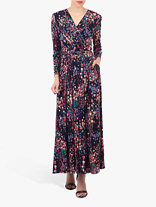Jolie Moi Long Sleeve Printed Maxi Dress, Navy/Multi