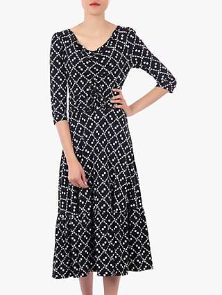 Jolie Moi Print Flounce Hem Midi Dress, Black/White