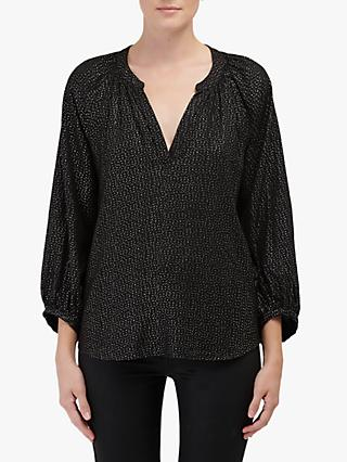 Velvet by Graham & Spencer Shirley Foil Print Blouse, Black/Multi
