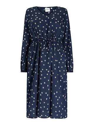 JUNAROSE Curve Nilla Spot Midi Dress, Navy/White