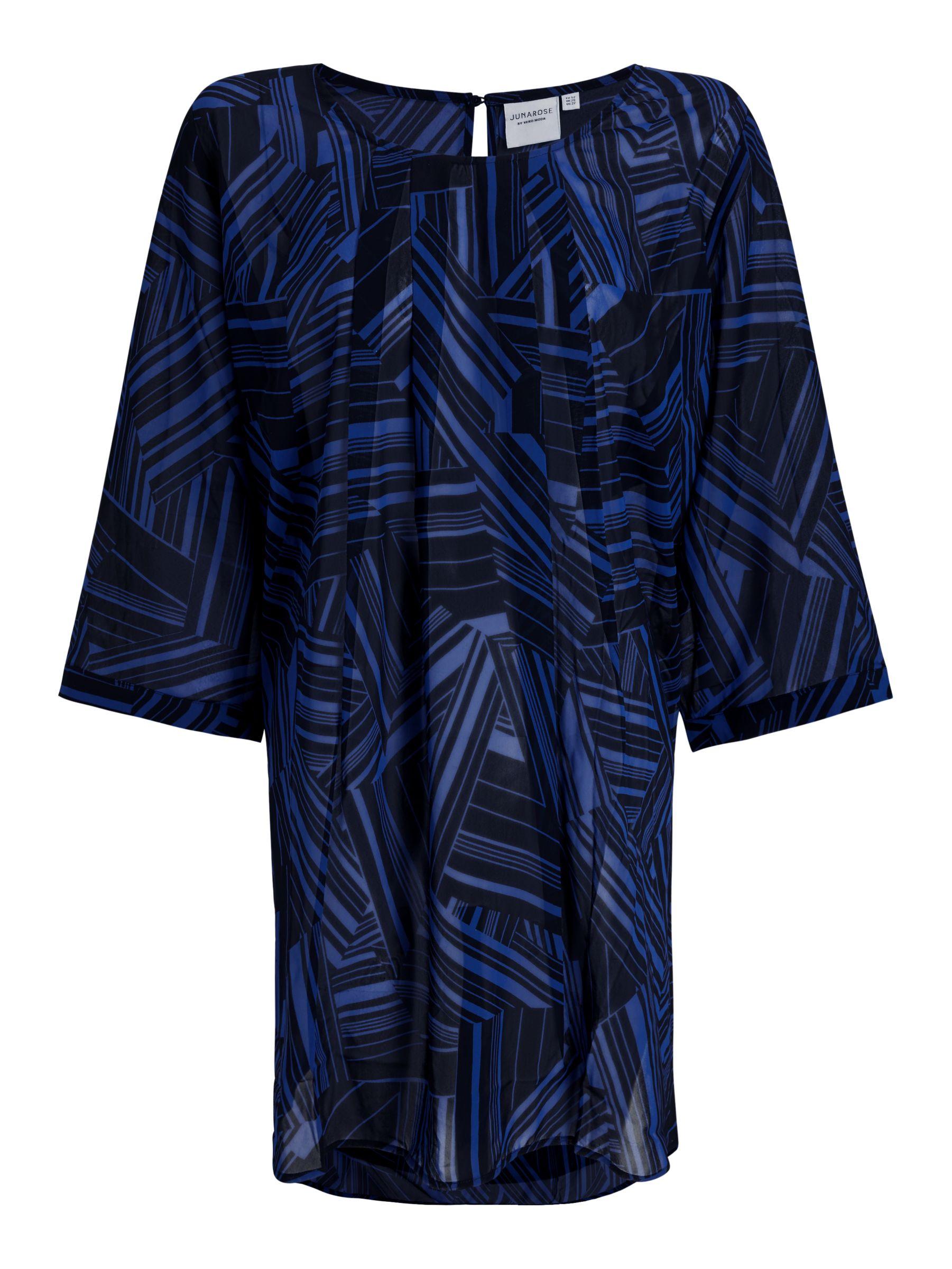 Junarose JUNAROSE Curve Kidaroy Tunic Top, Black/Blue