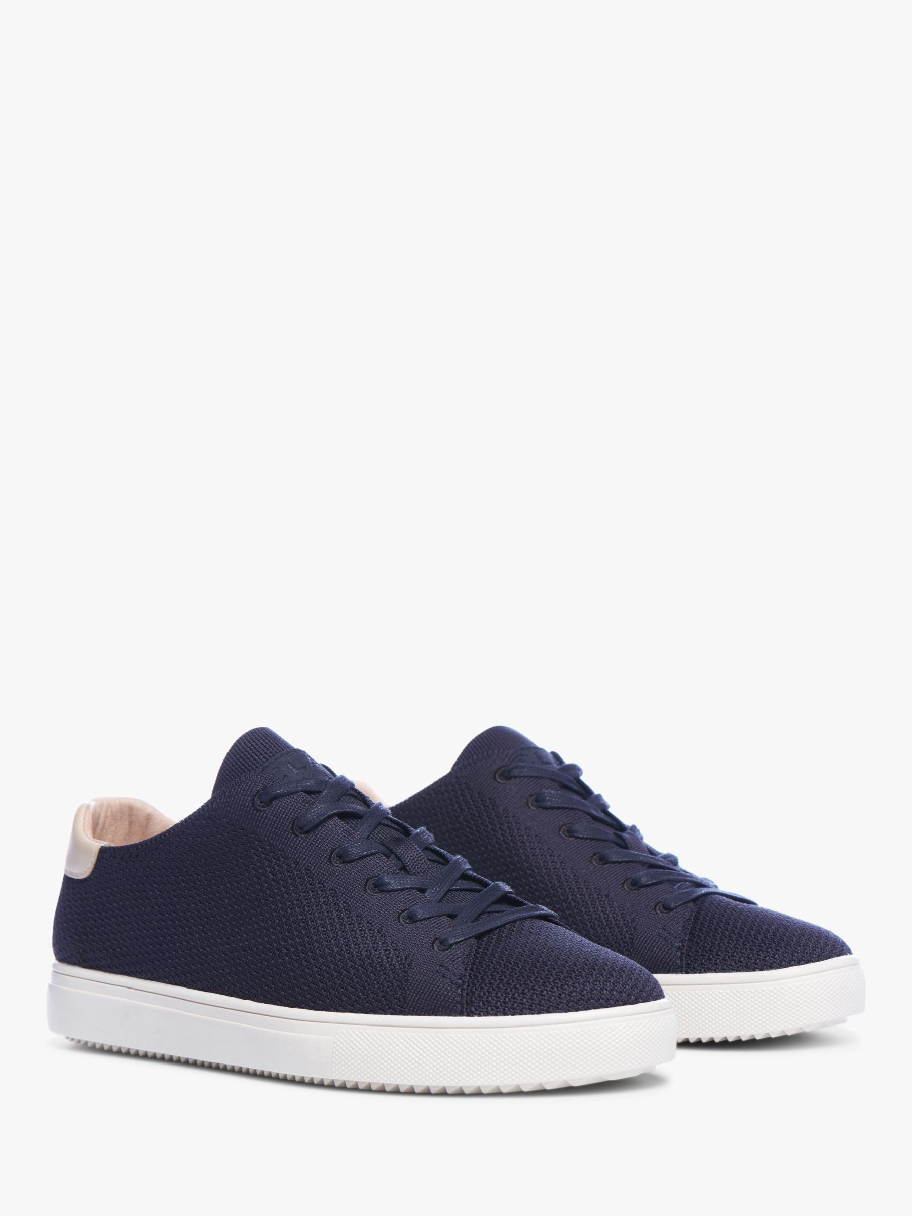 Clae CLAE Bradley Knit Trainers, Deep Navy/Natural Leather