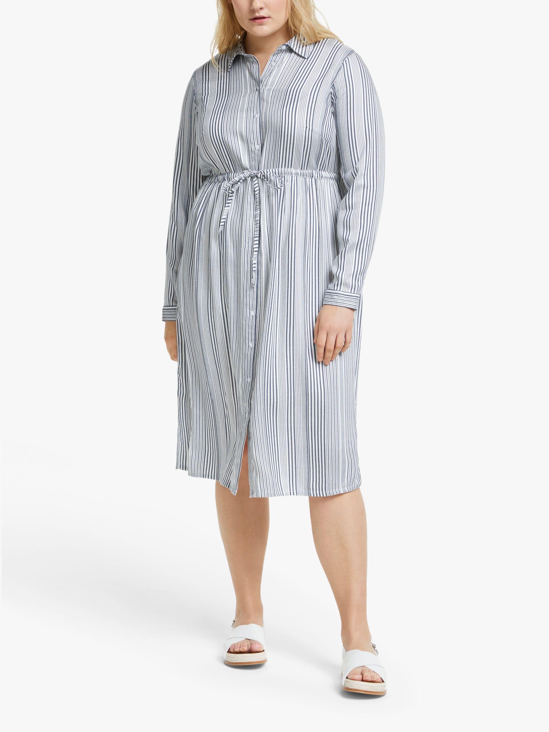 Junarose JUNAROSE Curve Adya Stripe Midi Dress, Black/White