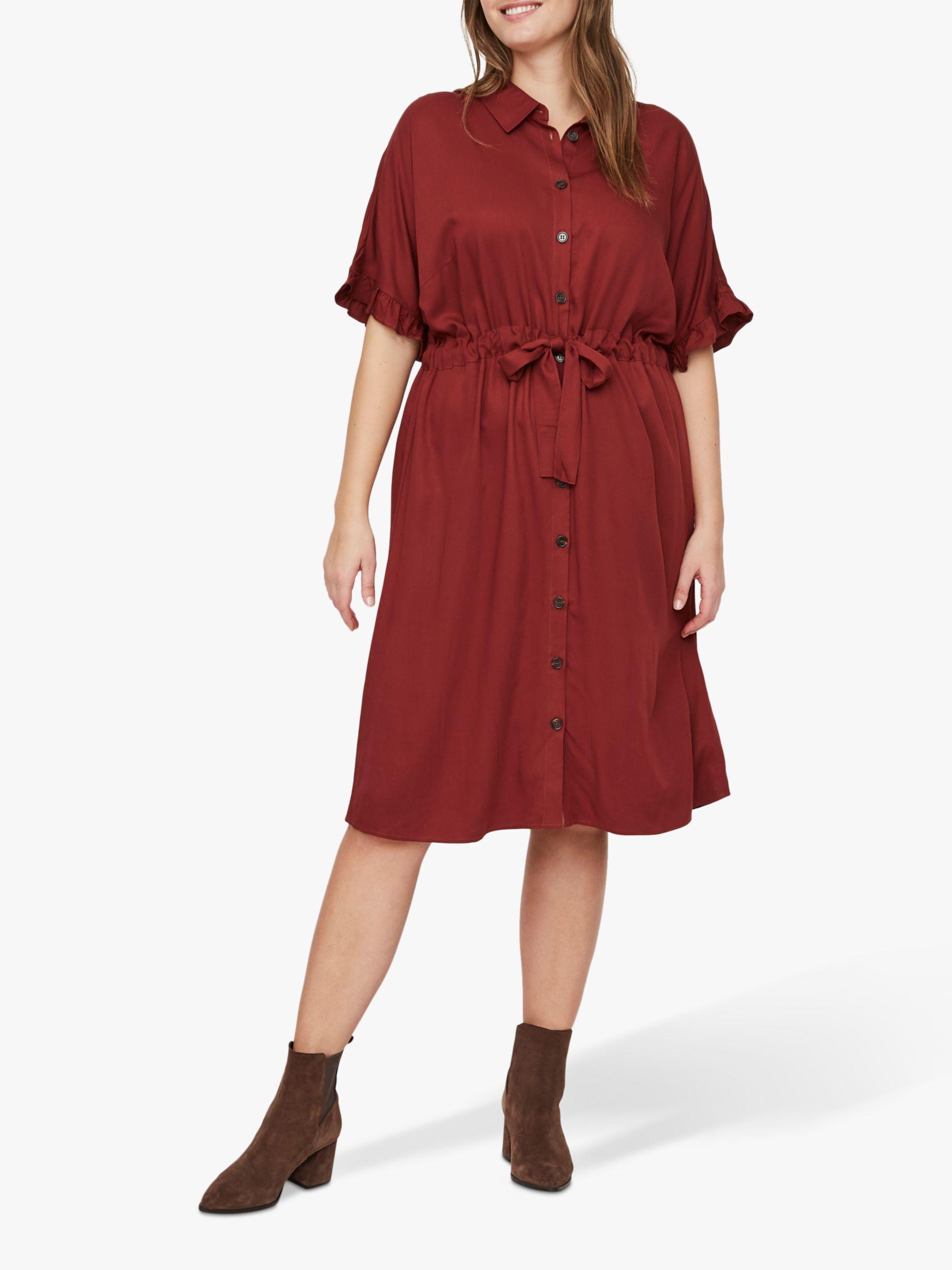 Junarose JUNAROSE Curve Alwia Shirt Dress, Madder Brown