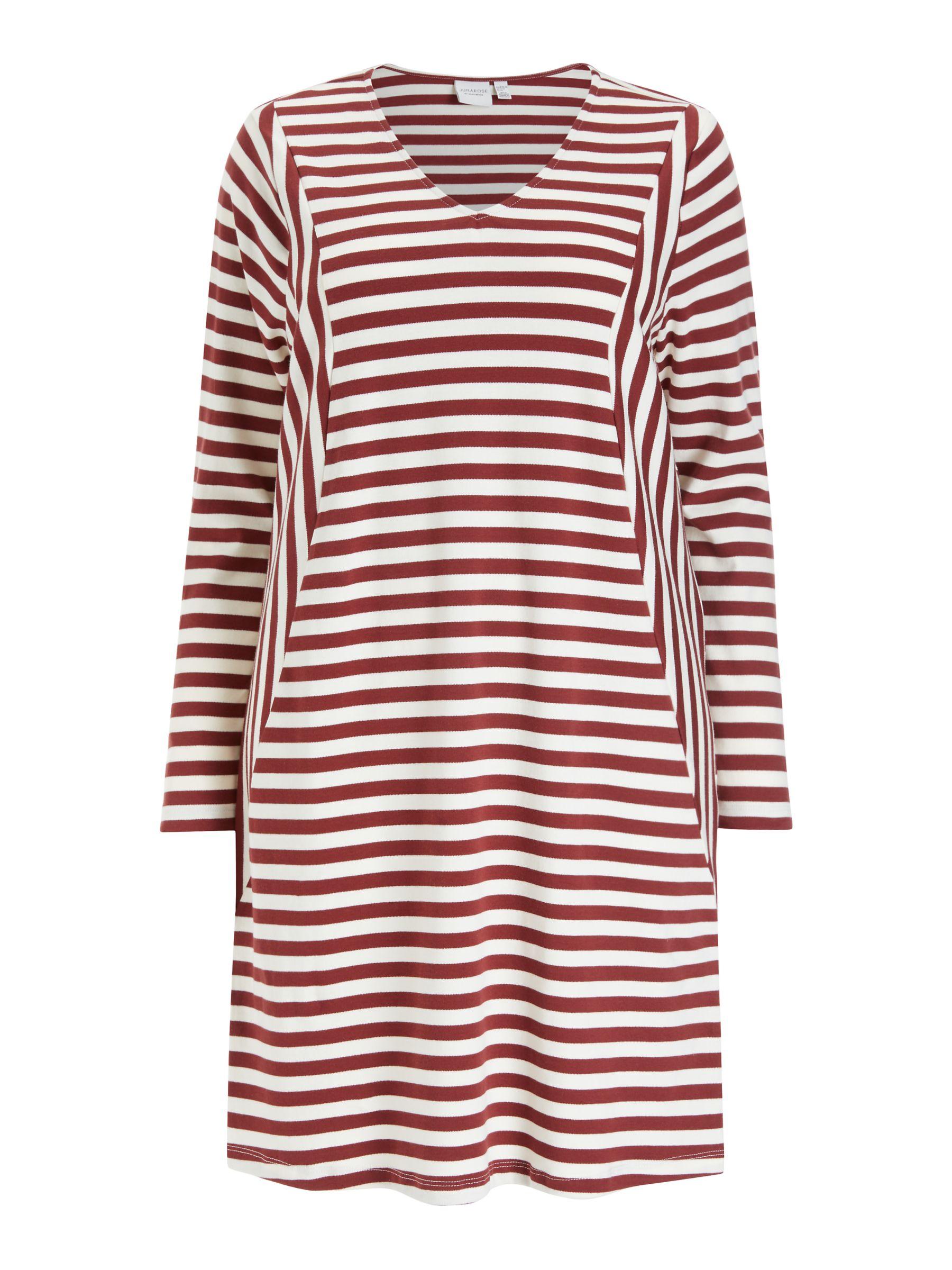 Junarose JUNAROSE Curve Rise Organic Cotton Stripe Dress, Brown/Vanilla Ice