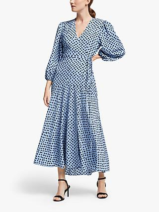 Essentiel Antwerp Spot Print Wrap Dress, Chambray