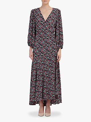 Essentiel Antwerp Floral Print Wrap Dress, Black/Multi