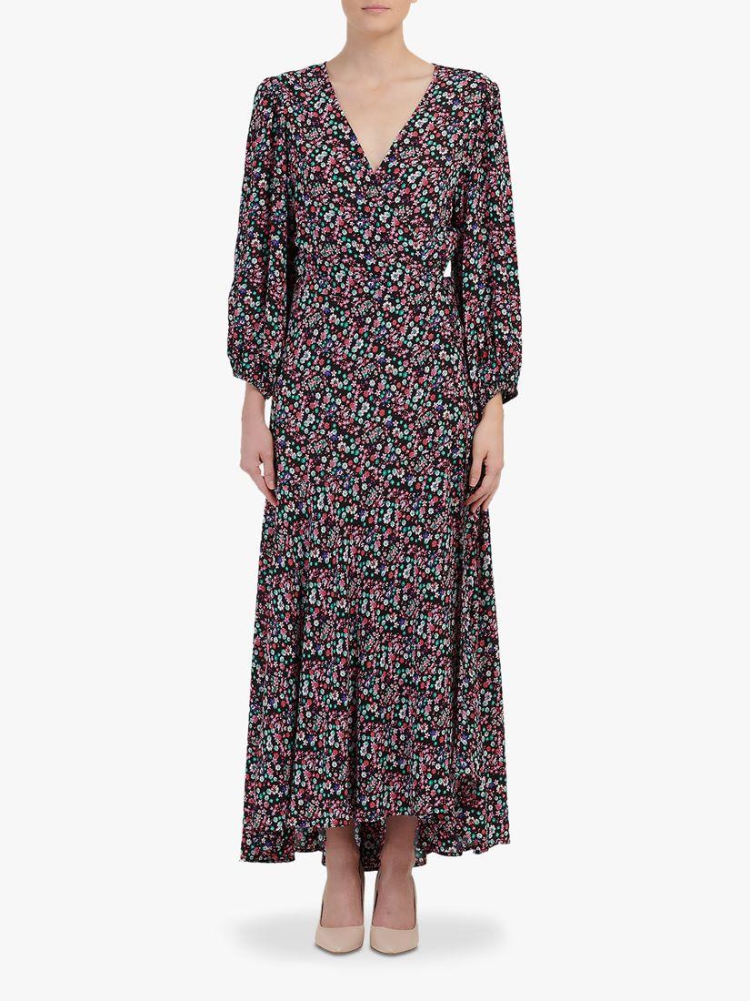 Essentiel Antwerp Essentiel Antwerp Floral Print Wrap Dress, Black/Multi