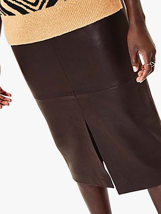 Oasis Leather Pencil Skirt, Dark Brown
