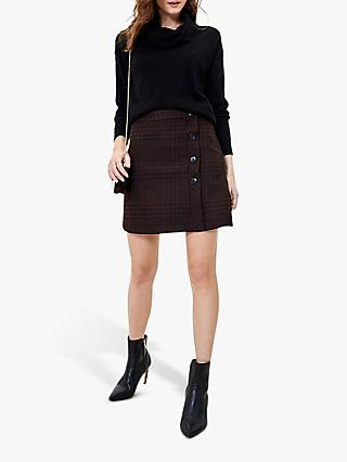 Oasis Puppytooth Check Mini Skirt, Dark Brown