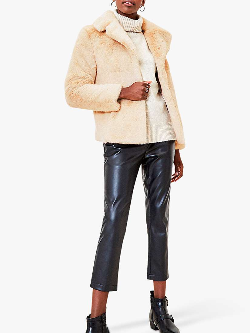 Oasis Short Faux Fur Coat, White by Oasis