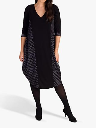 chesca Holey Ribbed Midi Dress, Black/Grey