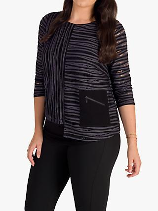 chesca Holey Rib Stripe Top, Grey/Black