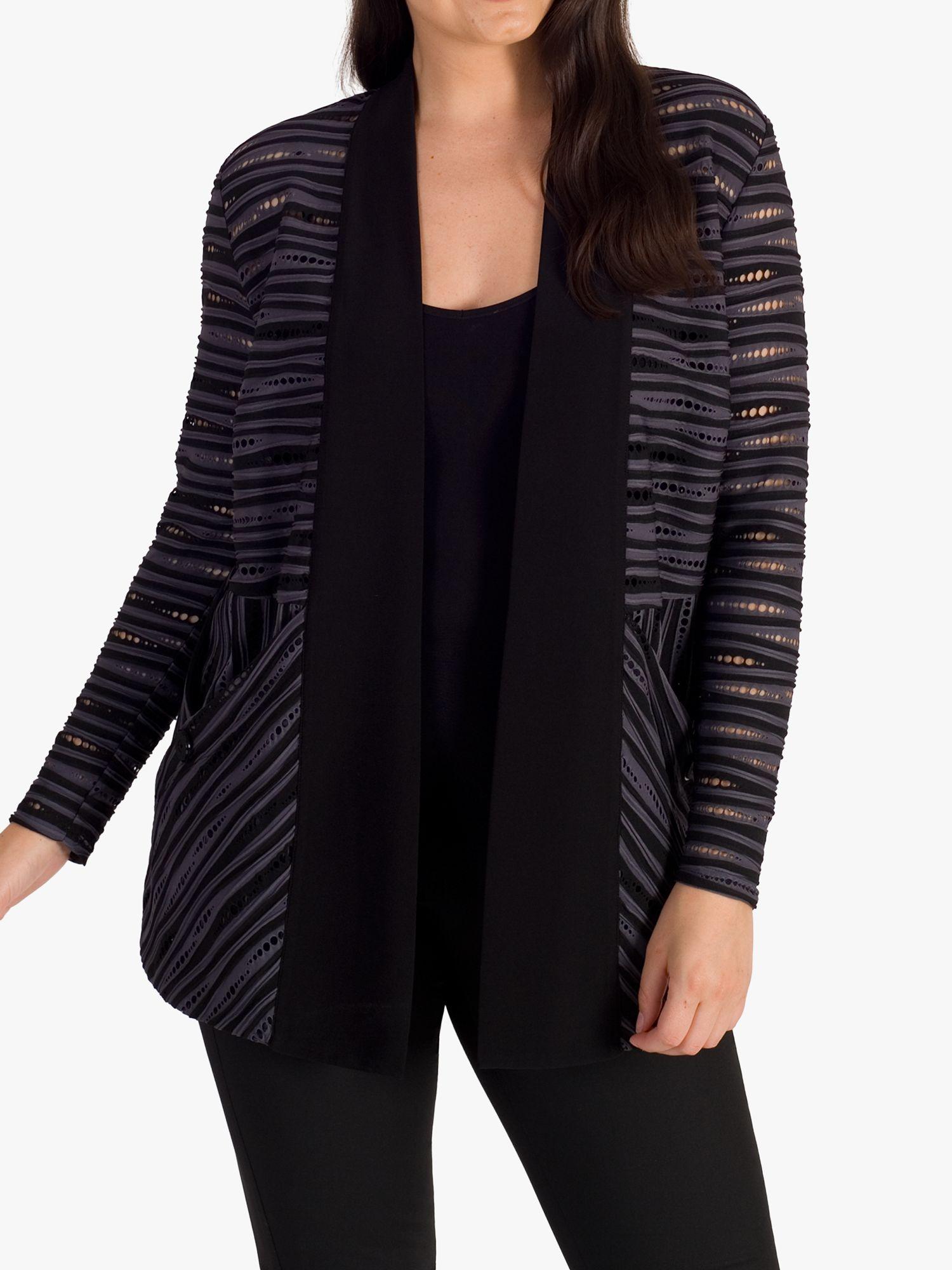 Chesca chesca Ribbed Stripe Jersey Jacket, Grey/Black
