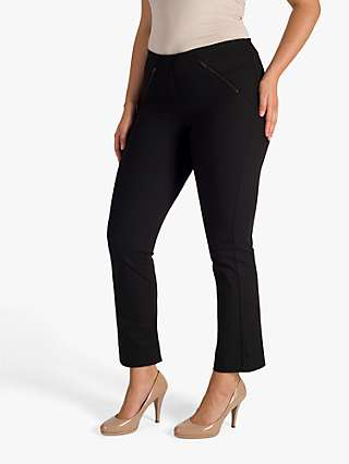 Chesca Zip Detail Stretch Trousers, Black