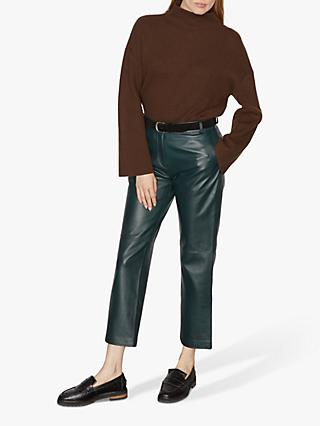 Jigsaw Cashmere Ribbed Turtle Neck Jumper, Chocolate