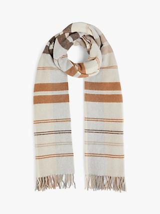 Jigsaw Stripe Check Wool Blend Scarf, Neutral