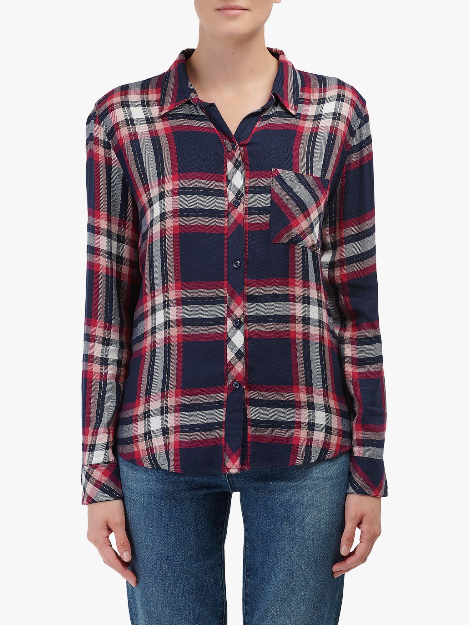 Rails Rails Hunter Check Print Shirt, Navy/Fuchsia Pink