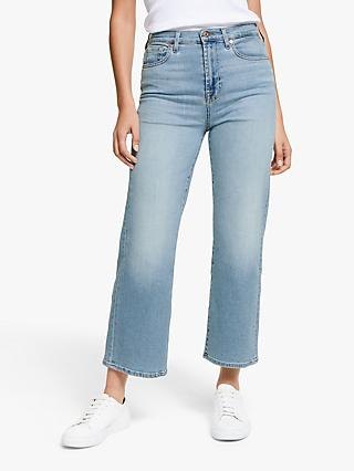 7 For All Mankind Cropped Alexa Luxe Vintage Jeans, Blue Eyes