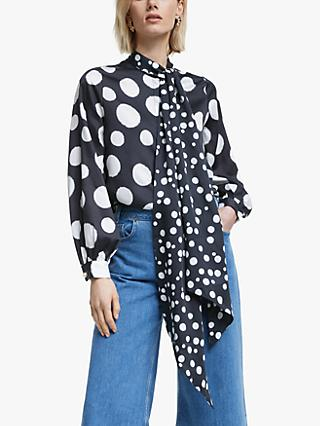 Mother of Pearl Tencel™ Spot Print Tie Neck Blouse, Navy