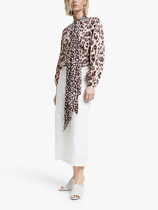 Buy Mother of Pearl Tencel™ Leopard Print Tie Neck Blouse, Pink/Multi, 8 Online at johnlewis.com