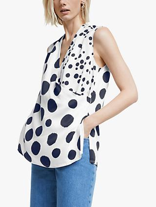 Mother of Pearl Tencel™ Sleeveless Spot Print Wrap Top, Ivory/Multi