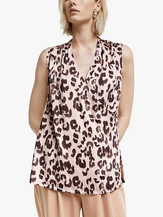 Mother of Pearl Tencel™ Sleeveless Leopard Print Wrap Top, Pink/Multi