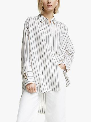 Mother of Pearl Tencel™ Stripe Shirt, Ivory/Navy