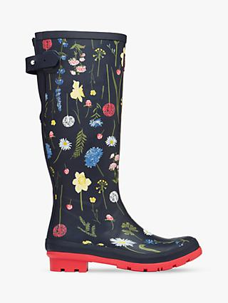 Joules Spring Flowers Wellington Boots, Navy