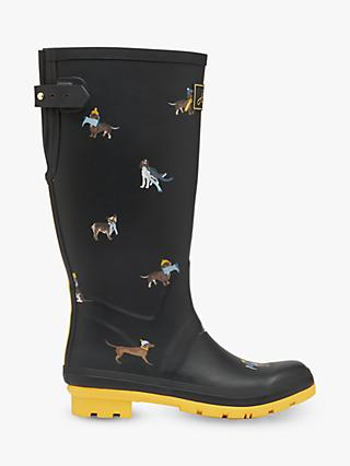 Joules Dog Print Wellington Boots, Black