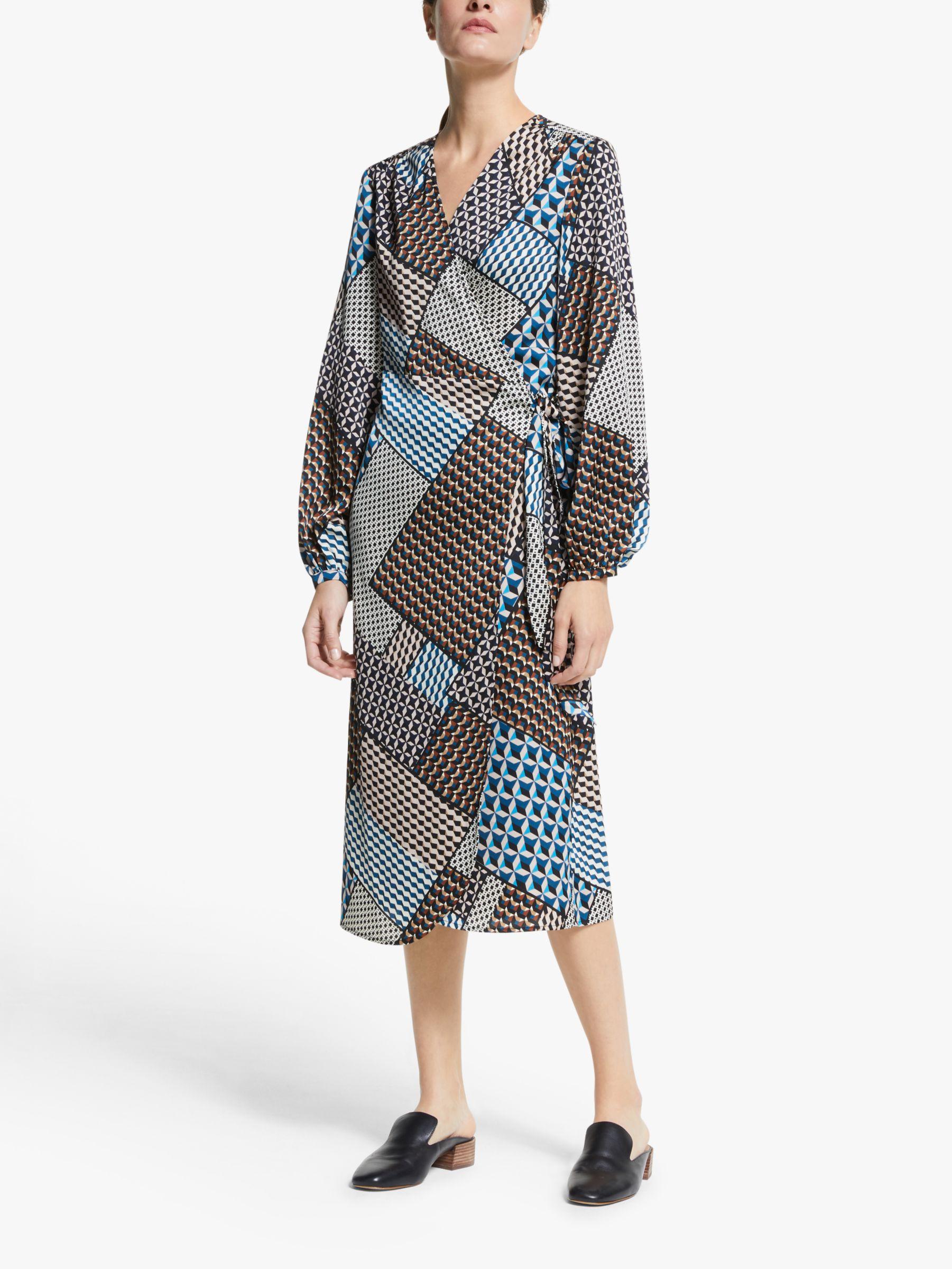 Y.a.s Y.A.S Blocka Long Sleeve Wrap Dress, Multi