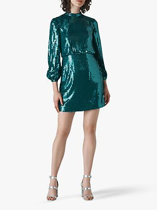 Whistles Dena Sequin Dress, Teal