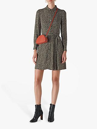 Whistles Autumn Floral Shirt Dress, Black/Multi