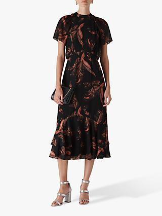 Whistles Rose Paisley Leaf Dress, Black/Multi