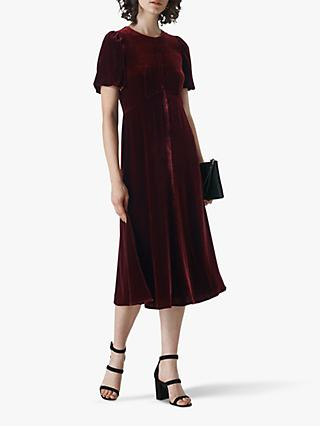 Whistles Vilimina Silk Mix Velvet Midi Dress, Dark Red