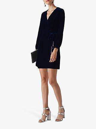 Whistles Lavone Wrap Dress, Dark Blue