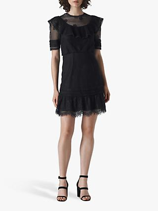 Whistles Mariah Lace Ruffle Dress, Black