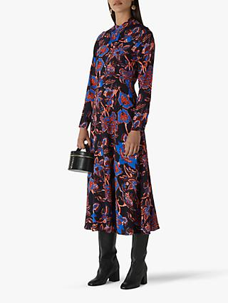 Whistles Ruby Trailing Bloom Dress, Black/Multi