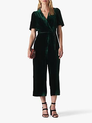 Whistles Layla Silk Velvet Jumpsuit, Dark Green