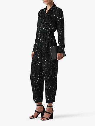 Whistles Star Print Jumpsuit, Black/Multi