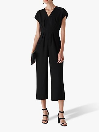 Whistles Mia Satin Mix Jumpsuit, Black