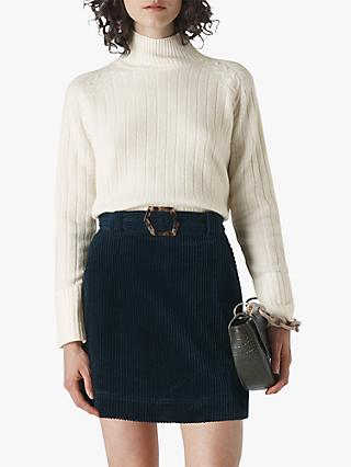 Whistles Wool Rib Detail Funnel Neck Jumper, Ivory