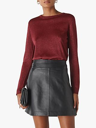 Whistles Sparkle Crew Neck Knit, Burgundy