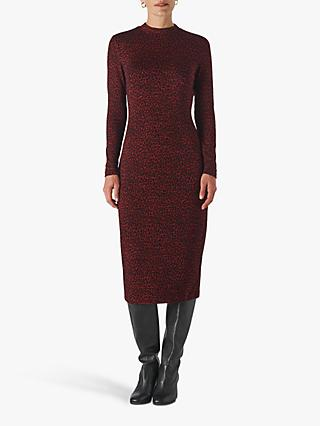 Whistles Animal Jersey Jacquard Dress, Burgundy